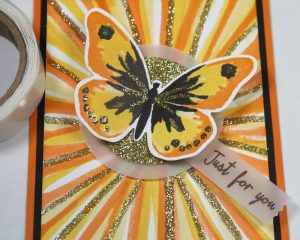 Watercolor Wings Bouncing Brayer Starburst Card using Stampin' Up! Products